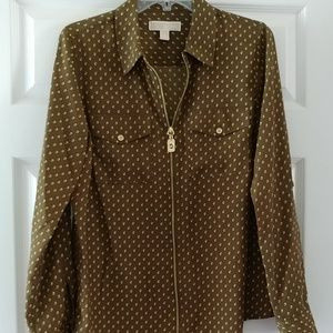 Michael Kors brown and gold roll tab sleeve blouse